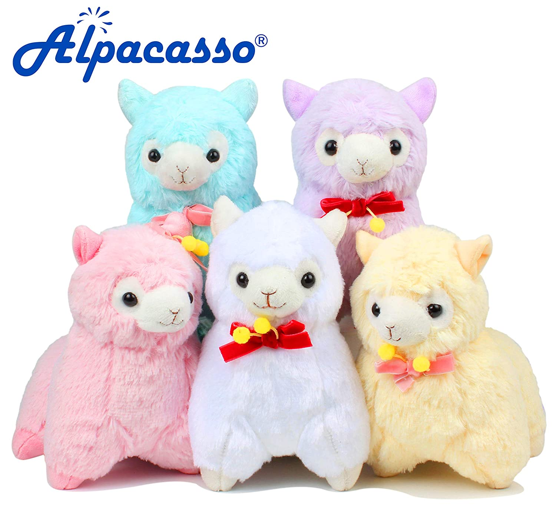 Alpacasso 6.7 Paquete de 5 peluches de alpaca Lindo juguete de peluche suave.