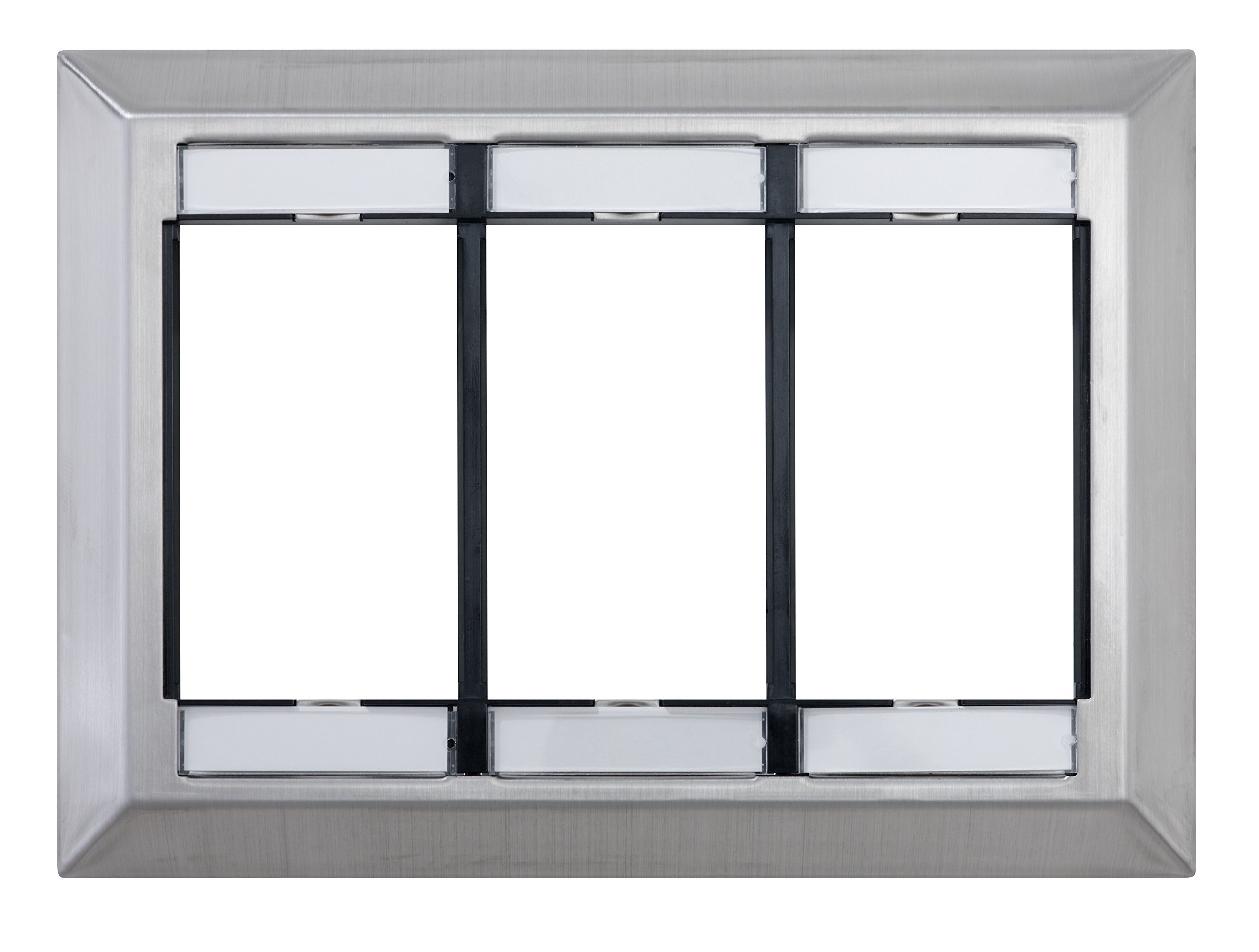 Leviton 41290-TMS Three Gang MOS Wall Plate with ID Windows, Stainless Steel