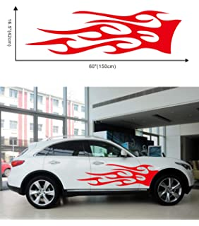 Uxcell a16042600ux0716 Evil Skull Flame Fire Style Vinyl Stickers Car Body Door Decor Decal Red Yellow