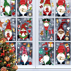 Unves Gnome Christmas Window Clings for Glass Windows - 8 Large Sheets Winter Gnome Elf Scandinavian Christmas Window Stickers Decals Decorations for Home Holiday Party