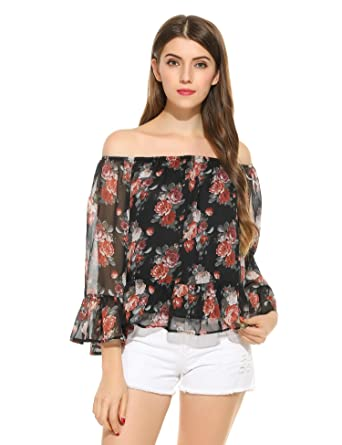 e2713135fe6 Zeagoo Women s Off Shoulder Casual Chiffon Print Floral Blouse Summer Loose Tops  Shirt