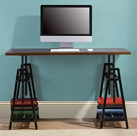 Irene Height Adjustable Wood Desk Distressed Mocha