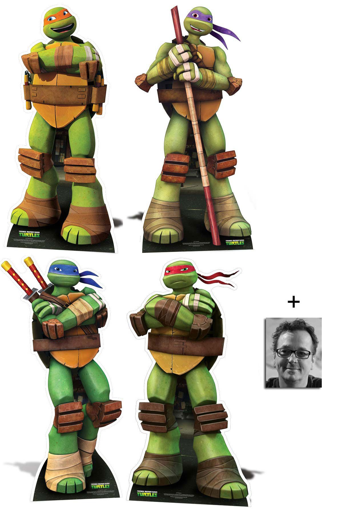 Fan Pack - Teenage Mutant Ninja Turtles Lifesize Cardboard Cutout / Standee / Standup - Complete Set of 4 (Leonardo, Raphael, Michelangelo and Donatello) - Includes 8x10 (20x25cm) Photo