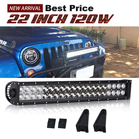 Dakride Dot 20 22inch Led Light Bar 120w Combo Beam Grill Bumper Light Bar For Suv Truck Jeep Wrangler Dodge Chevy Rv Ford Tractor Toyota Polaris Rzr