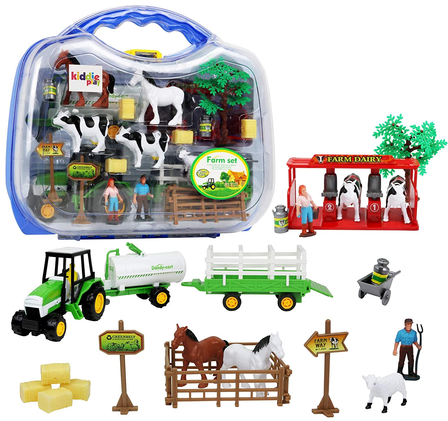 25 pieces Kiddie Play Farm Toys Set with Farm Animals for Toddlers .