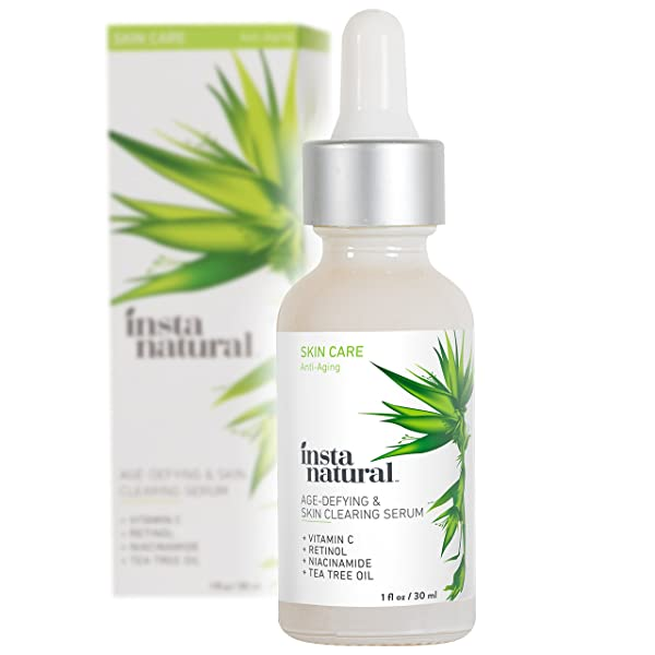 InstaNatural Vitamin C Skin Clearing Serum - Anti Aging Formula with Retinol & Salicylic Acid - Natural & Organic Wrinkle, Acne, Dark Spot, Fine Line & Hyperpigmentation Defying Facial Product - 1 OZ