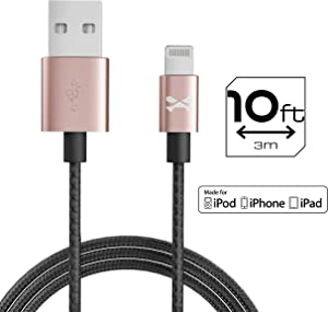 Ghostek NRGline 10FT Lightning Cable MFI Certified Charger Durable Nylon Braided – Pink