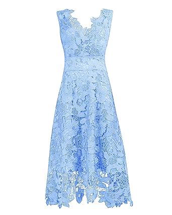 KIMILILY Womens Elegant V Neck Light Blue Floral Lace Bridesmaid DressS