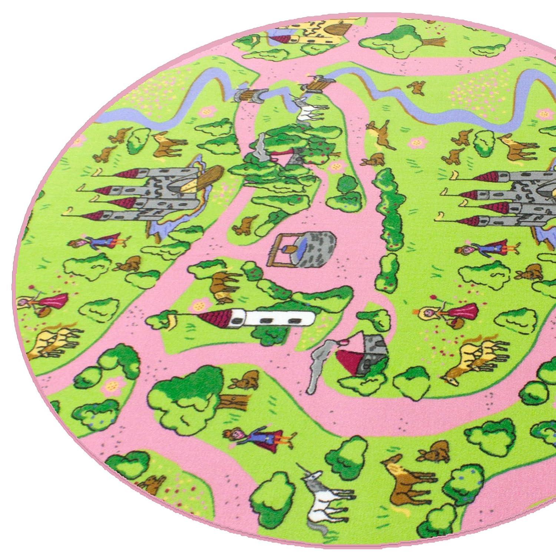 Märchenland HEVO® Mädchen Teppich   Spielteppich   Kinderteppich 200 cm Ø Rund Oeko-Tex 100