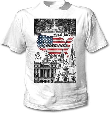 teesquare1st Savannah USA Camiseta Blanca para Hombre de Algodon: Amazon.es: Ropa y accesorios