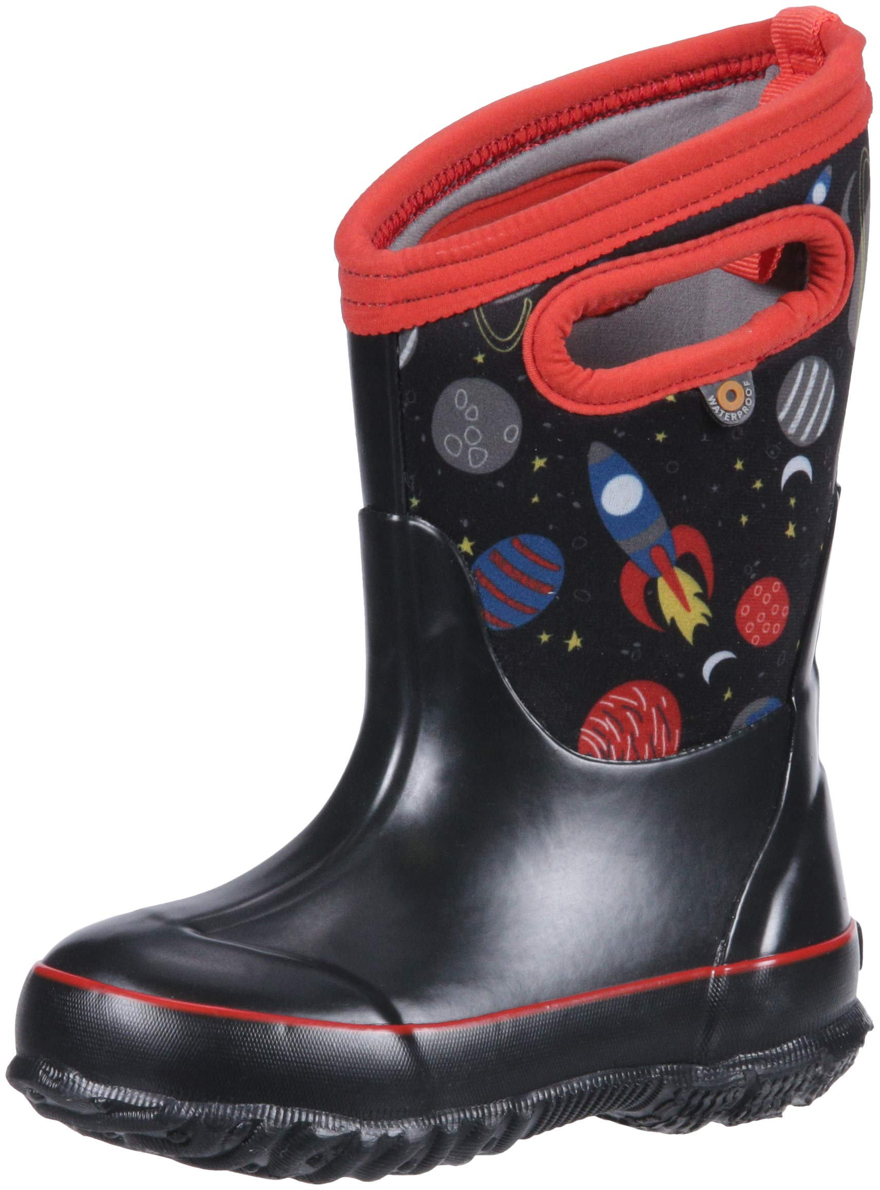 Bogs Classic High Waterproof Insulated Rubber Neoprene Rain Boot Snow, Space Black/Multi 12 M US Little Kid