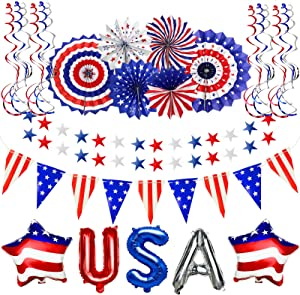 TURNMEON 25Pcs Patriotic Party Decorations Set, American Flag Star Banners Red White Blue Paper Fans Hanging Swirls USA Star Balloons for Memorial Day, 4th of July, Independence Day, National Day
