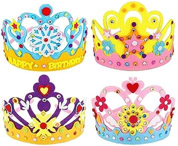 Hifot Kit Manualidades niños DIY Corona 4 Piezas, Princesa Tiara Artesanía Artículos para Fiestas Infantiles, cumpleaños Fiestas Accesorios