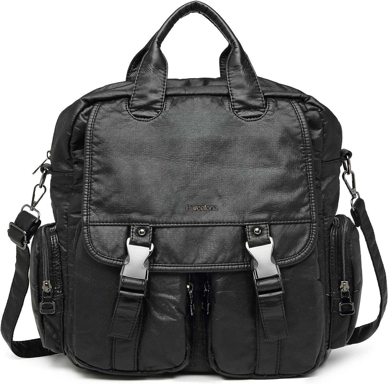 21KBARCELONA Women Backpack Purse, Ultra Soft Washed Vegan Leather Backpack