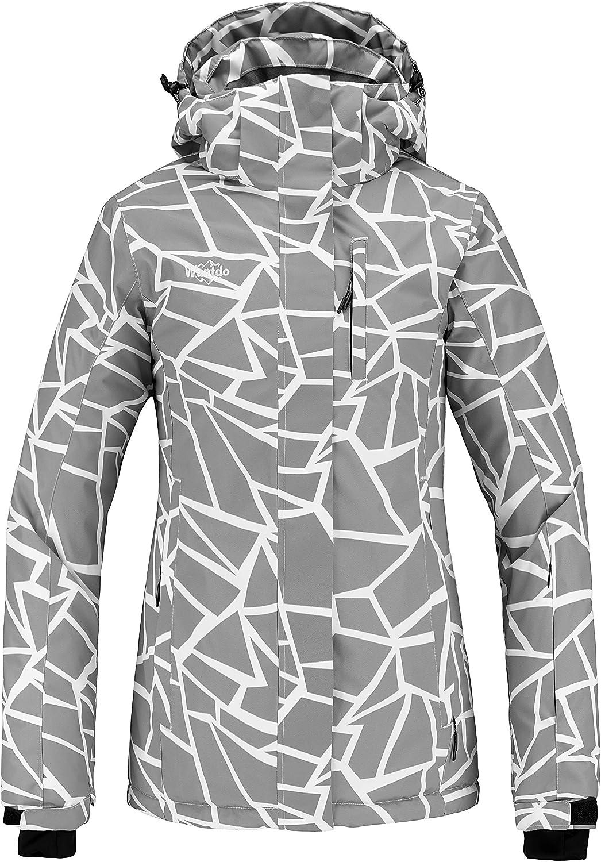 Wantdo Women's Waterproof Ski Jacket Windproof Print Fully Taped Seams Snow Coat Warm Winter Windbreaker
