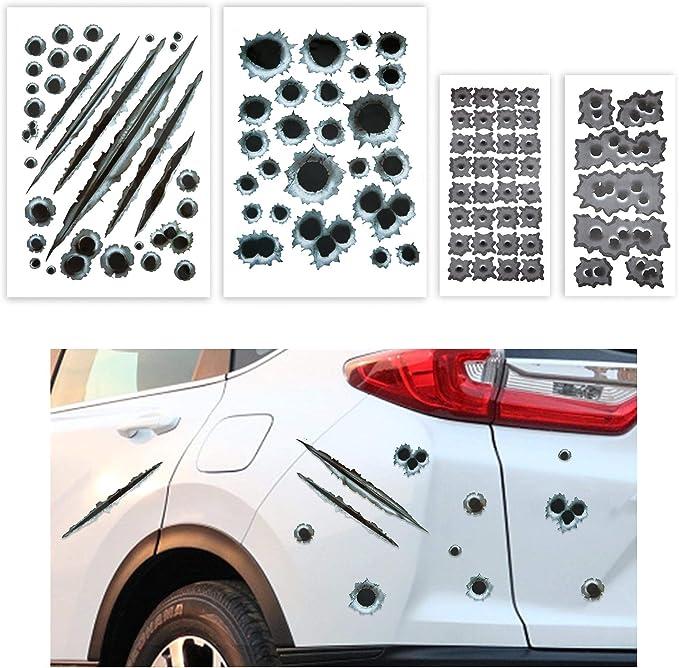 TOMALL 96 Pegatinas 3D para Coche con diseño de Agujero de Bala para simulación Armas Falsas, Tatuajes y Cubiertas Delanteras Accesorios de decoración ...