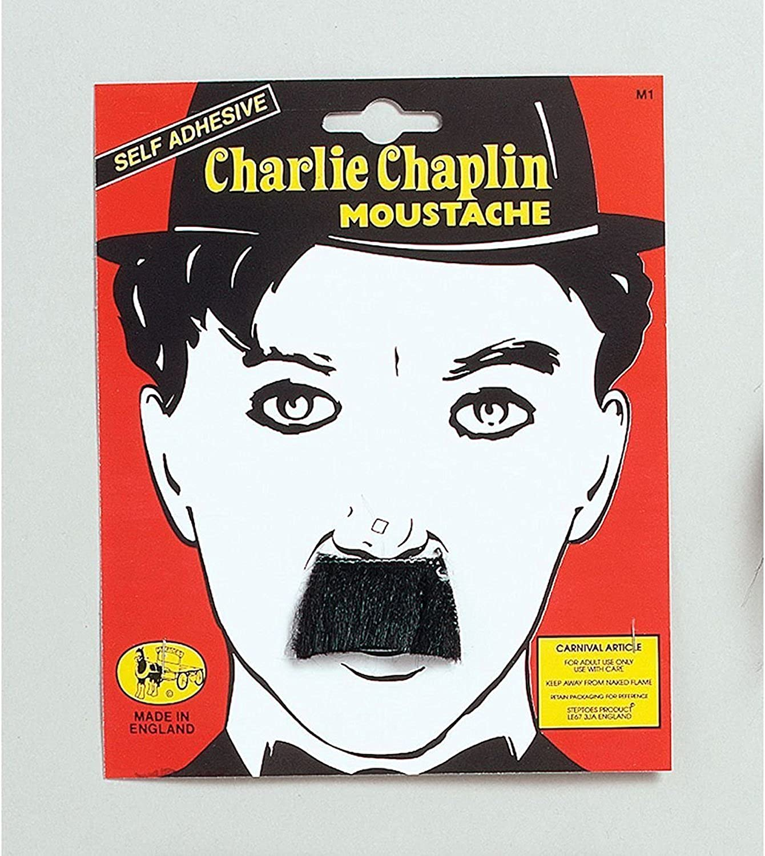 Black Gentleman Charlie Chaplin Moustache Tash Fancy Dress Accessory