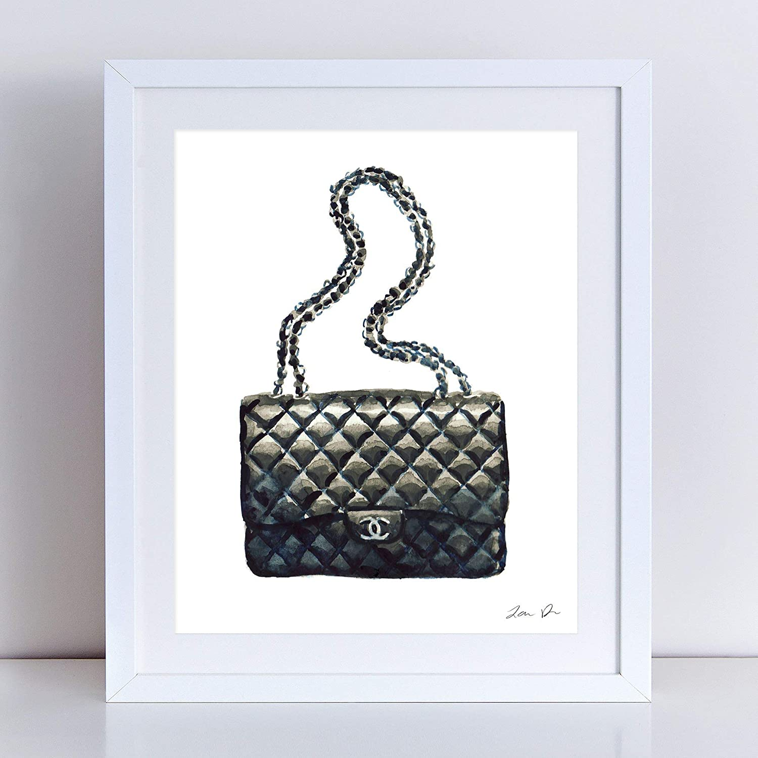 af552d0160ad57 Chanel Bag Art Print Watercolor Painting Wall Home Decor Chanel Handbag  Quilted Black Coco Chanel Fashion Illustration Vintage Chanel Preppy Pretty  Chic ...