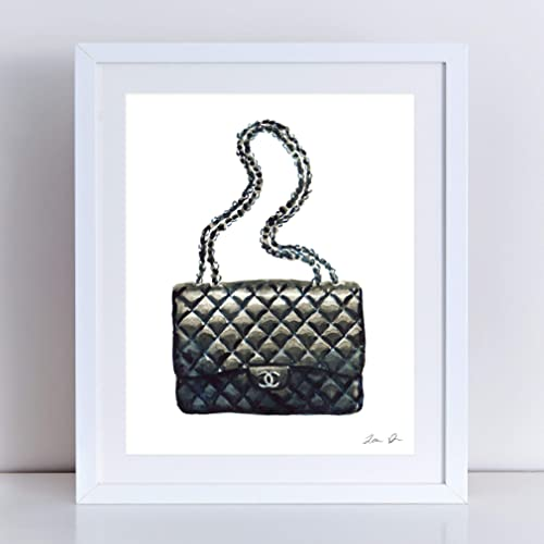 Chanel Bag Art Print Watercolor Painting Wall Home Decor Chanel Handbag  Quilted Black Coco Chanel Fashion Illustration Vintage Chanel Preppy Pretty  Chic ... eaf45f87c1d42