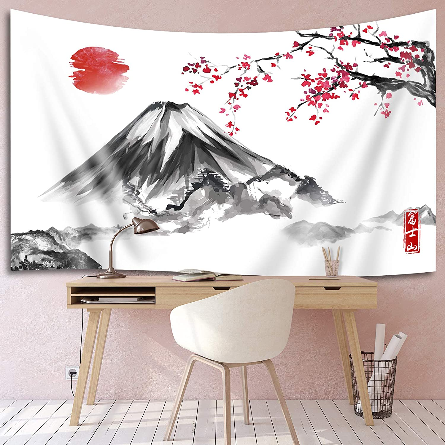 Japanese Wall Tapestry Japanese Decorations Fuji Mountain Sakura Sunset Backdrop Cherry Blossom Banner Hanging Background for Living Room Bedroom Dorm Decor Party Wedding Birthday 71 x 43.3 Inch