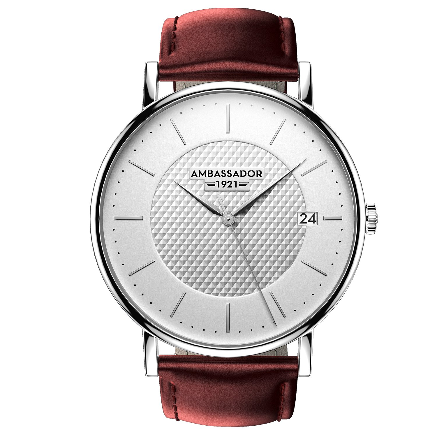 Ambassador Luxury Watch for Men - Heritage 1921 Silver Case with Burgundy Leather Strap with Swiss Quality