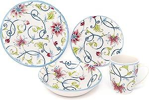 Tudor Royal Collection 16-Piece Premium Quality Round Porcelain Dinnerware Set, Service for 4 - BOTANICAL, See 10 Designs Inside!