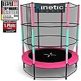 Kinetic Sports Trampolino Bambini Indoor Tappeto Elastico 140 cm, Bordo di protezione, Sistema a corda elastica, Rete di sicurezza, Rosa