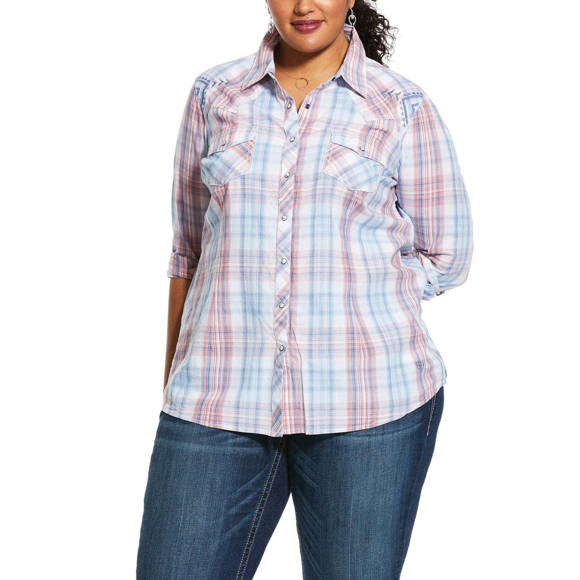 ARIAT Women's Real Lovely Snap Shirt, Multi, 3X R by ARIAT