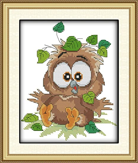 Of A Cute Baby Owl Counted Cross Stitch Kit