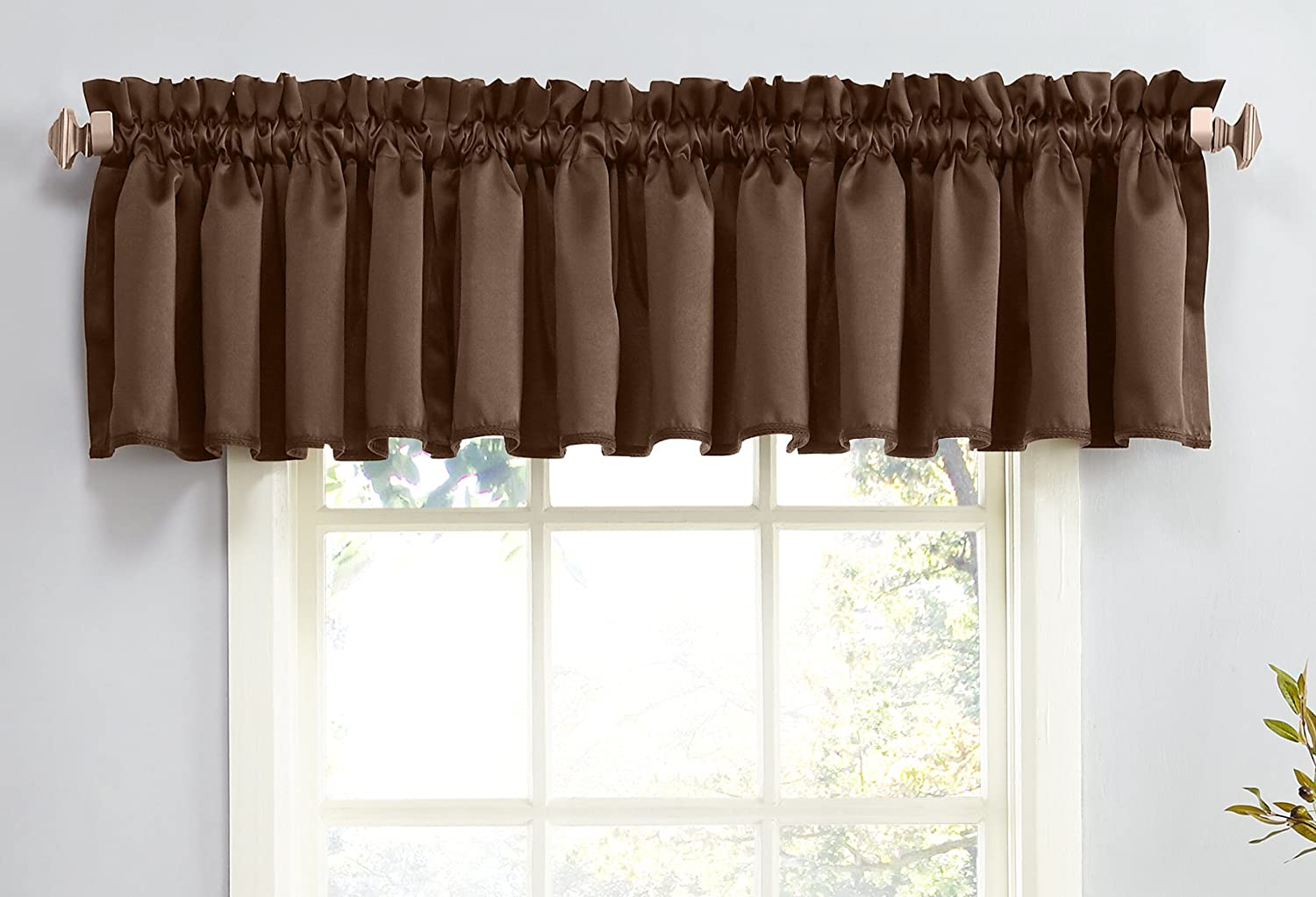 "Sun Zero Barrow Energy Efficient Rod Pocket Curtain Valance, 54"" x 18"", Chocolate Brown"