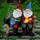 Exhart Good Time Bud Buddies Gnome Statue - Hand-Painted Gnome Best Friends Eating Chips & Smoking Marijuana Weed w/LED Accent Lights - Resin Gnome Decor Perfect for Home Garden Art, 10 Inches Tall