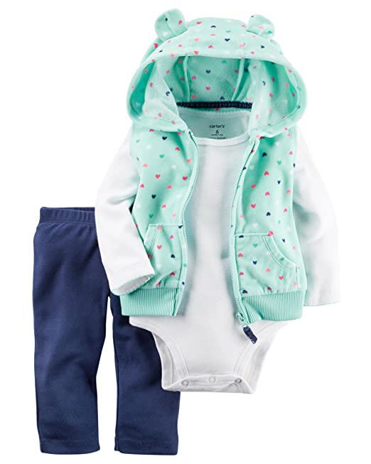 ae3277747 Carter s Baby Girls  3-Piece Heart Hooded Vest Set 9 Months  Amazon ...