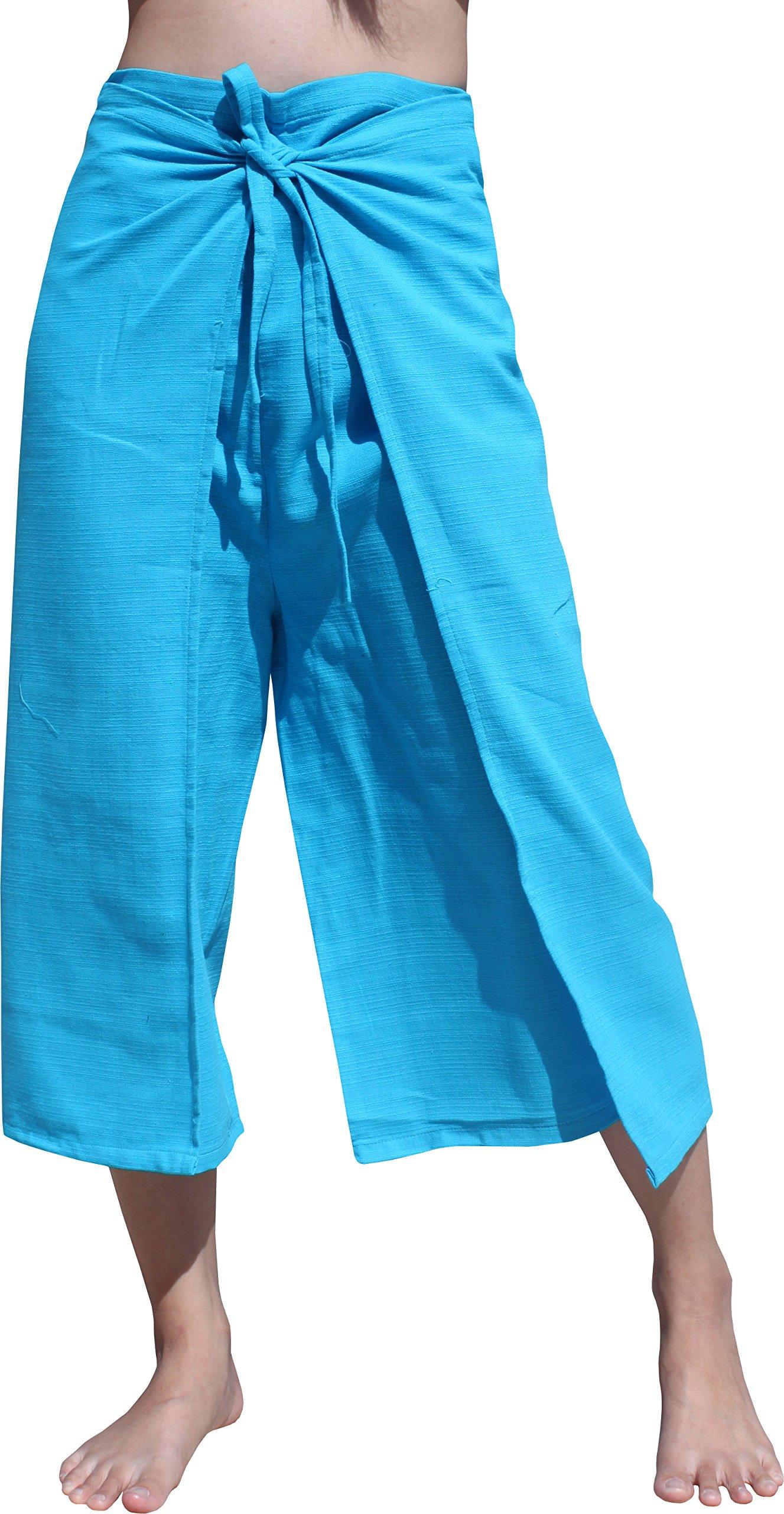 RaanPahMuang Drive In Wrap Pants In Summer Plain Mixed Cotton, Medium, Yeaphai Cotton - Neon Blue by RaanPahMuang