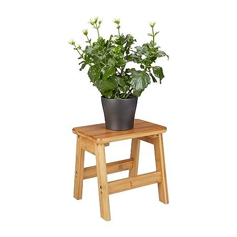 Sitzbank weiß Tritthocker Fußhocker Deko Hocker Schemel Holzhocker Bambus-Holz