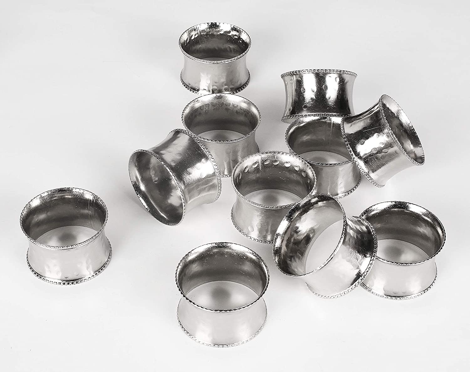 Classic Everyday Metal Napkin Rings with Elegant Beaded Rim, Hand Made by Skilled artisans, for Wedding Receptions, Dinners Parties, Family Gatherings, or Everyday Use - Set of 4 - Silver