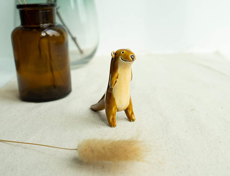 Handmade Ceramic River Otter Figurine
