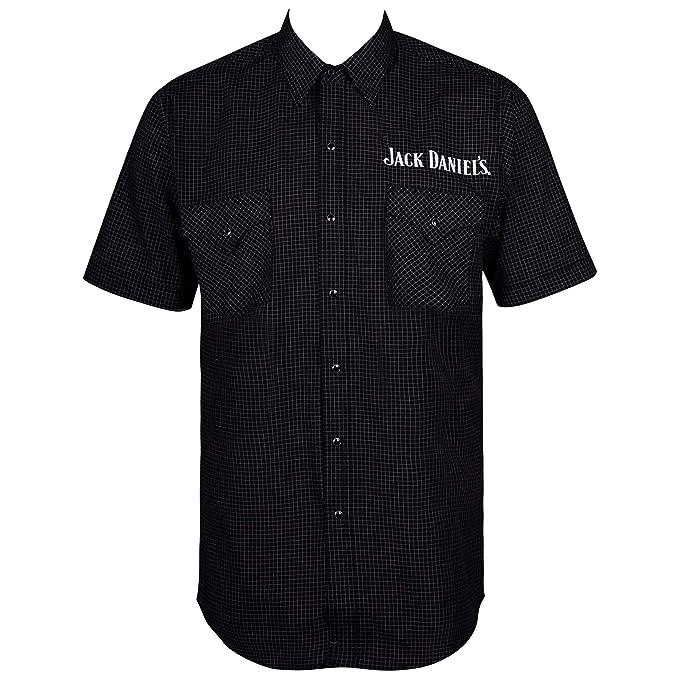Jack Daniels Mini Checkered Short Sleeve Button Up Shirt Black