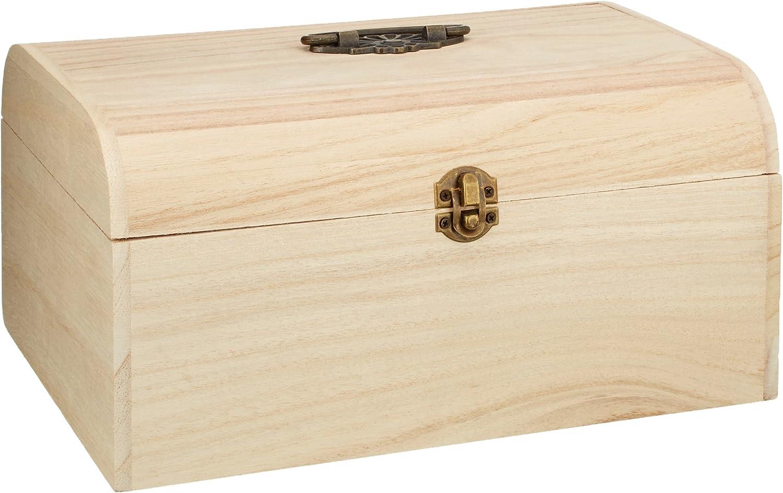 ohne Inneneinteilung Griff und Verschluss aus Metall Utensilienkoffer naturbelassen Rayher 6166500 Holz-Koffer Bastelkoffer unlackiert Antikbeschlag Holzbox 24,5 x 16,5 x 11,5 cm Holzkoffer