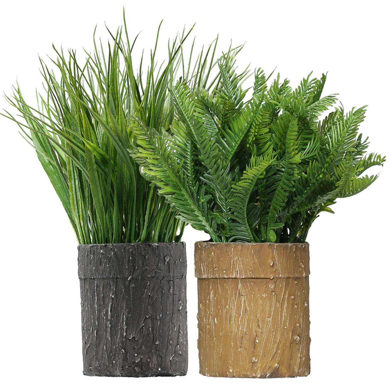 """Artificial Plants Fern Fake Shrubs Bushe 11"""" Height in Handmade Textured Paper Pot Greenery Grass Indoor Home and Bathroom Decor 2 Packs"""