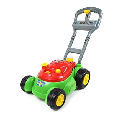 Sunny Days Entertainment Maxx Bubbles Bubble-N-Go Toy Mower with Refill Solution, Red: Toys & Games