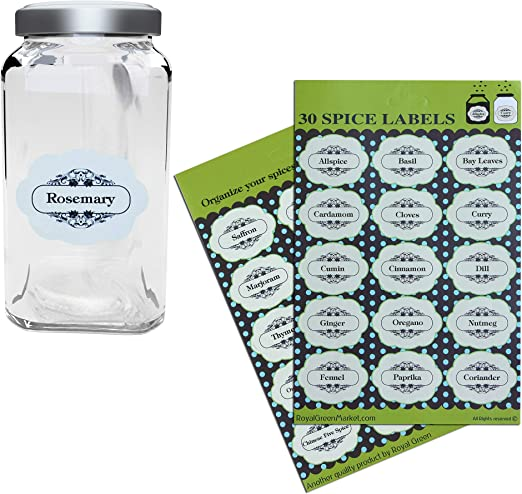 Decorative spice Labels for Spices jars Black Letters Great for kitchen