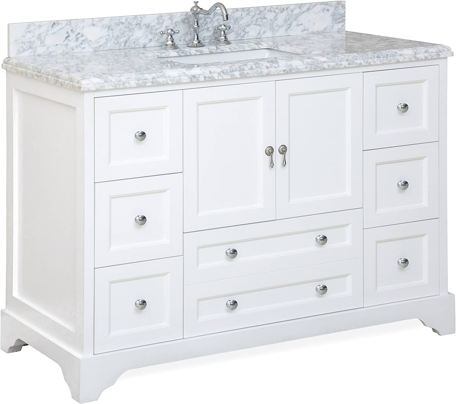 Madison 48-inch Bathroom Vanity Carrara White Includes Italian Carrara Marble Top, White Cabinet with Soft Close Drawers Doors, and Rectangular Ceramic Sink