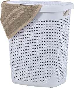 Wicker Laundry Hamper With Lid 50 Liter - White Laundry Basket 1.40 Bushel Durable Bin With Cutout Handles - Easy Storage Dirty Cloths in Washroom Bathroom, Or Bedroom. By Superio