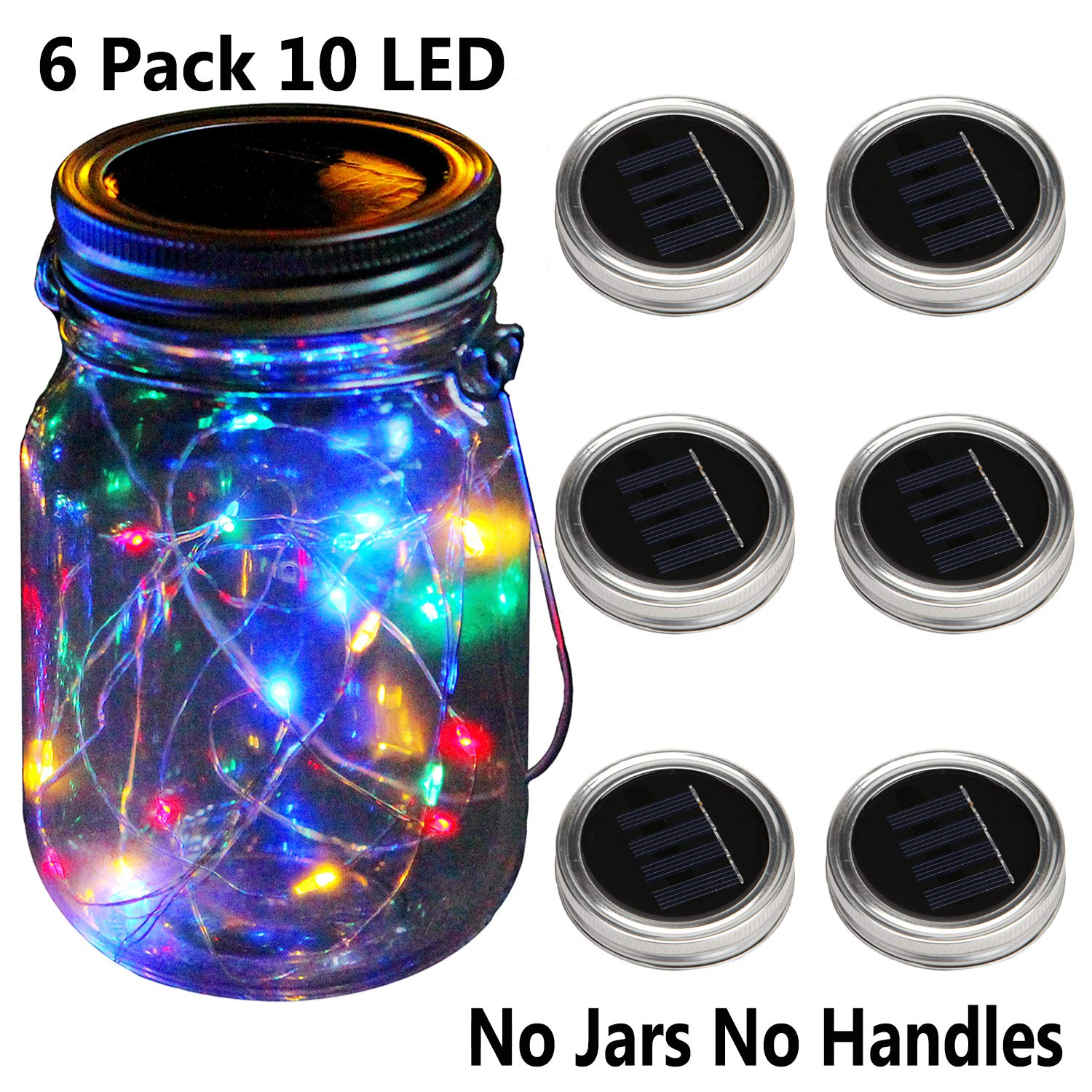 KZOBYD 6 Pack Mason Jar Lid Solar Waterproof Fairy Starry Firefly Lights for Regular Mouth Mason Jar Lantern on Patio Yard Pathway Festivals Home Decor(Jars and Handles Not Included)