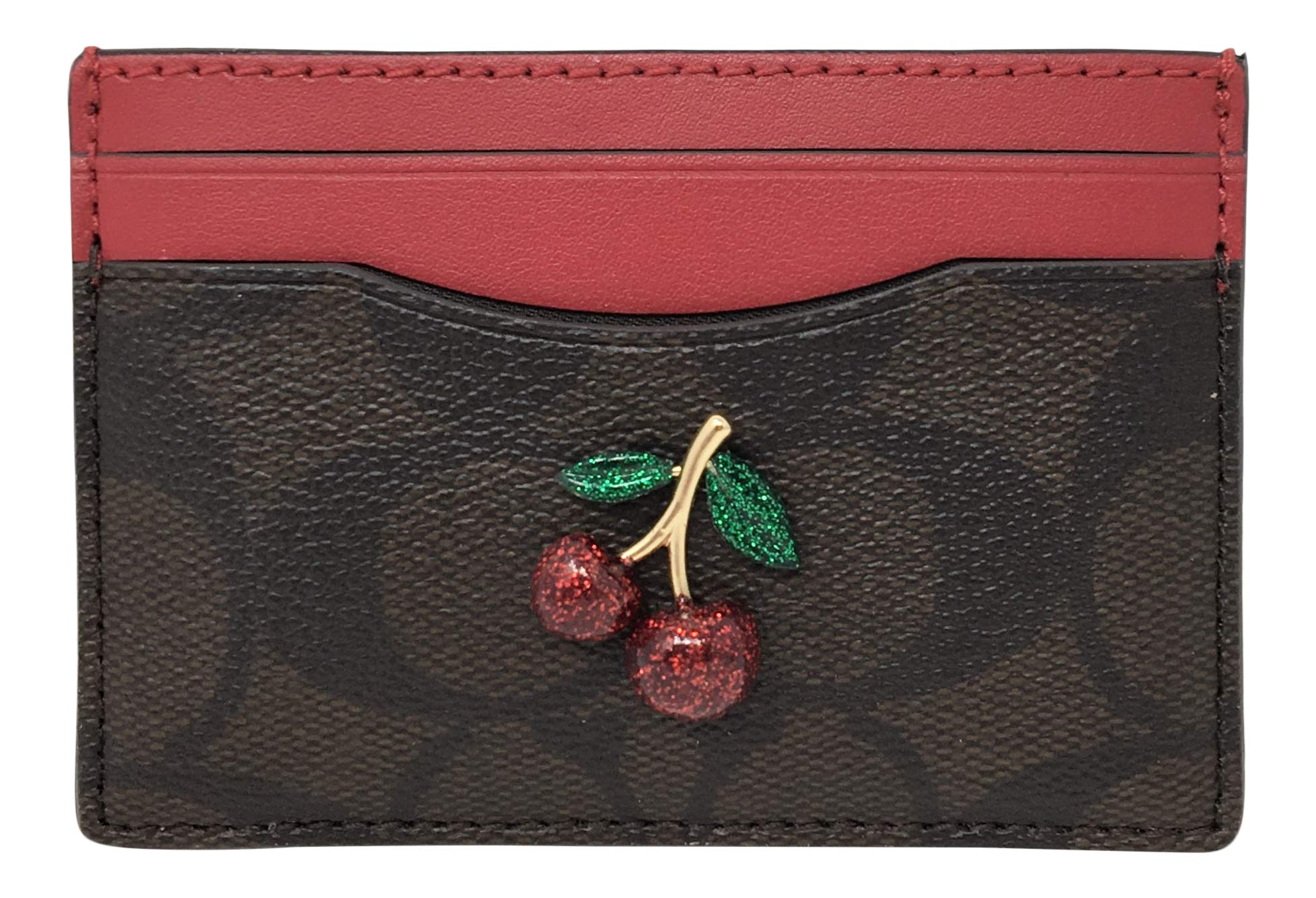 Coach Card Case In Signature Canvas With Cherry Fruit Brown Red F73079
