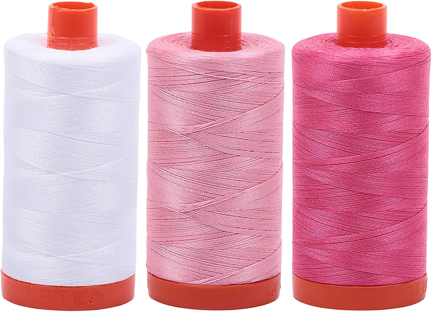2024+2423+2530 Baby Pink Blossom Pink Aurifil Mako 100/% Cotton 50wt Thread 3 Large 1422yd Spools: White