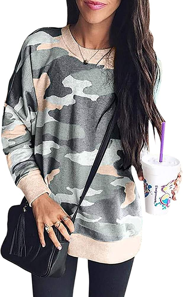 9a535f35b0190 ECOWISH Women's Camouflage Print Casual Leopard Pullover Long Sleeve  Sweatshirts Top Blouse 233 Army Green S