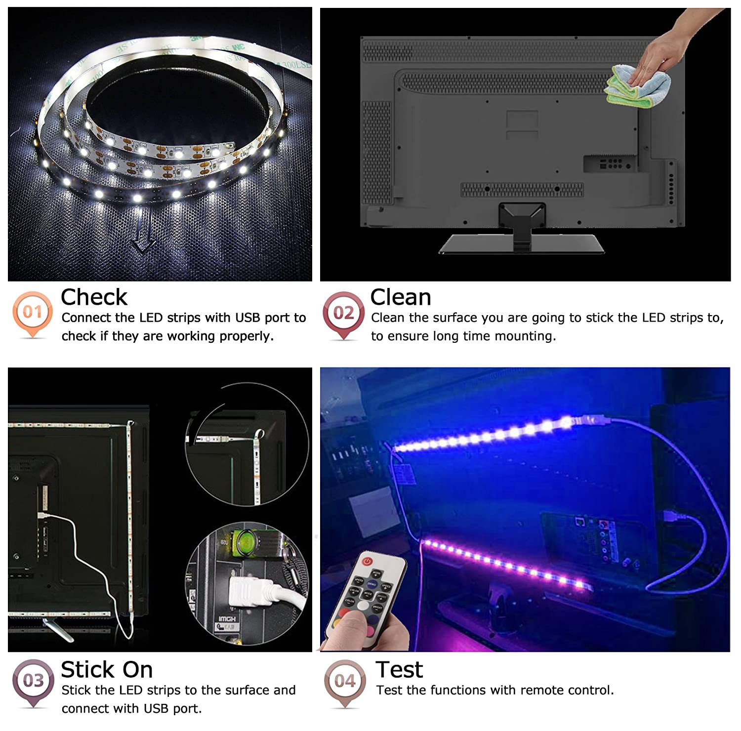 Amazon tobbiheim led tv backlight neon accent 2 m led lights amazon tobbiheim led tv backlight neon accent 2 m led lights strips with remote leds bias lighting for 40 to 60 inch hdtv flat screen tv accessories aloadofball Choice Image