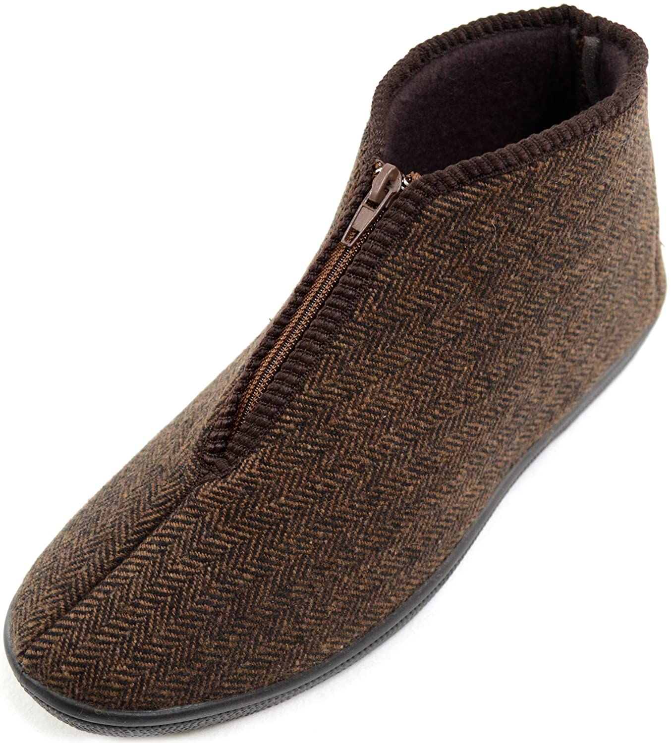 Mens / Gents Herringbone Style Zip Up Boots / Slippers / Indoor Shoes