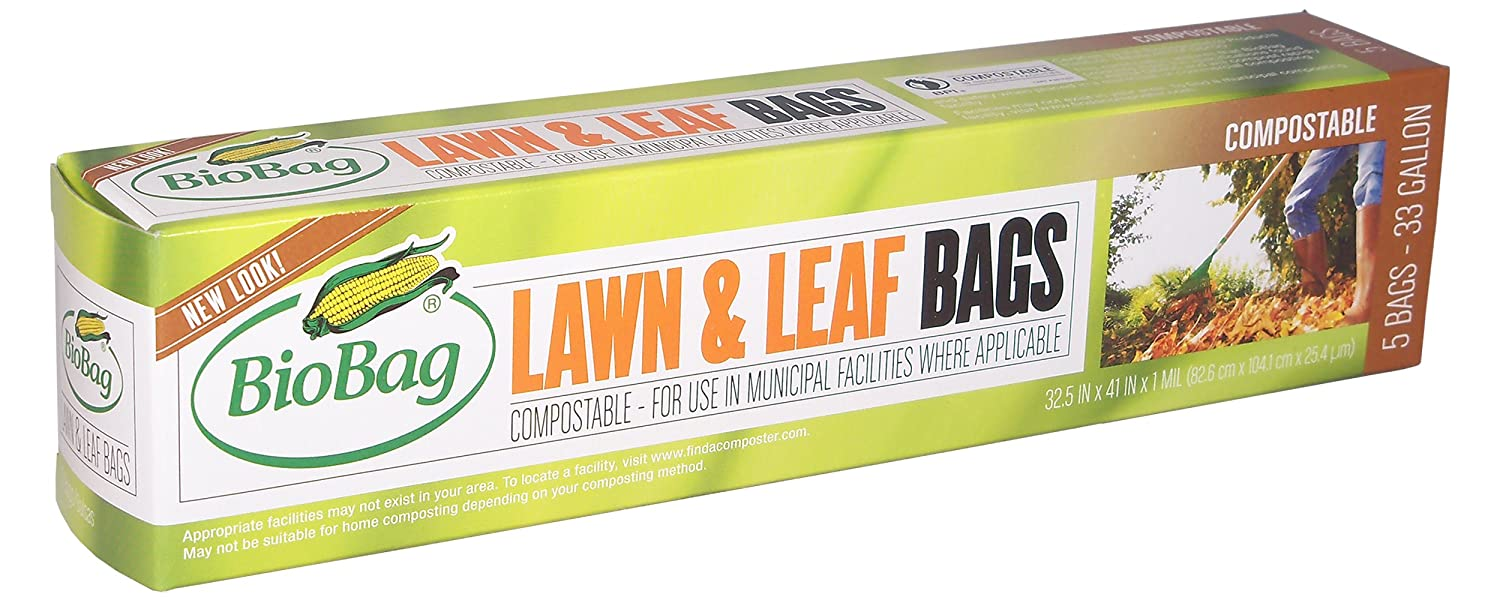 BioBag Lawn & Leaf Compostable Bags (33 Gallon), 5-Count Boxes (Pack of 4)